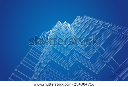 perspective view of modern building in vector - stock vector