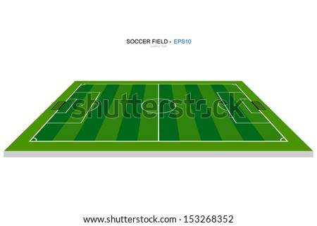 Perspective view of soccer field or football field - Vector illustration - stock vector