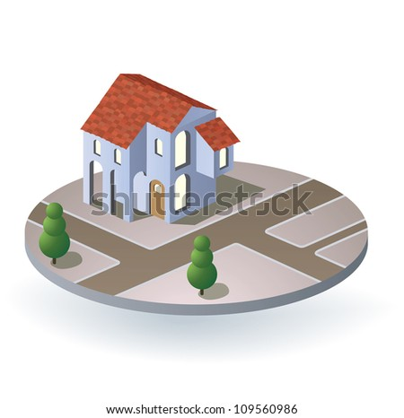 Perspective view of the village house in the vector - stock vector