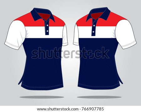 Perspective view stripes Polo Shirt design(Navy blue,white and red colors)