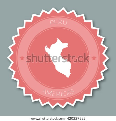 Peru badge flat design. Round flat style sticker of trendy colors with country map and name. Country badge vector illustration. - stock vector
