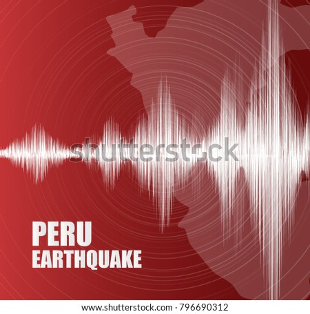 Peru Earthquake Wave with Circle Vibration on Red background,audio wave diagram concept,design for education,science and news,Vector Illustration.