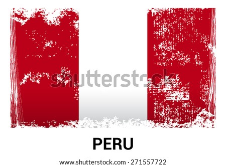 Peru grunge flag isolated vector in official colors and Proportion Correctly. country's name label in bottom. Vector Illustration - stock vector