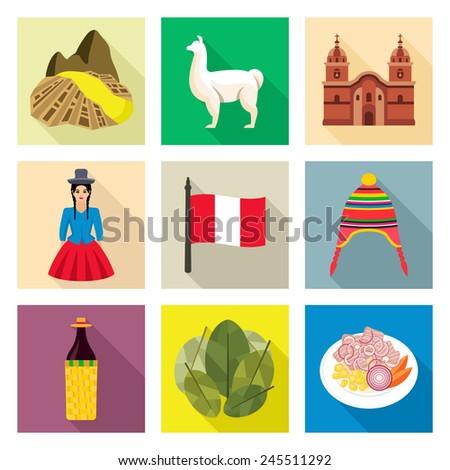 Peru icon set - stock vector