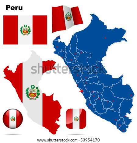 Peru vector set. Detailed country shape with region borders, flags and icons isolated on white background. - stock vector