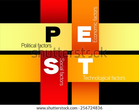 Pest analysis, strategy, political, economic, social, technological factors - stock vector