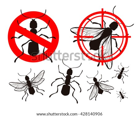pest control, ant icons set. insects. prohibitory sign and a target. vector illustration - stock vector