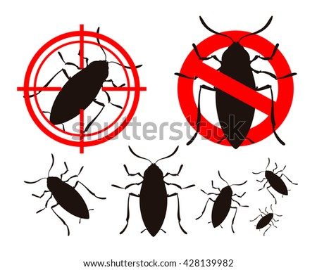 pest control. cockroach icons set. insects. prohibitory sign and a target. vector illustration - stock vector