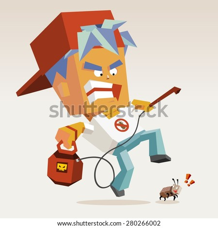 pest control with fogging killer.vector illustration - stock vector