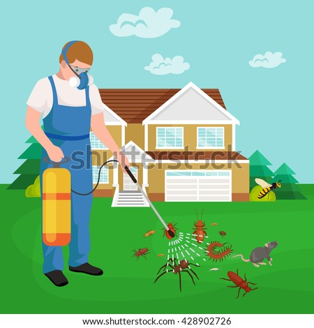 Pest controller in protection equipment uniform spraying toxic chemical poison on termite or other insect pest for control them.Man professional controlling house indoor and outdoor pest insect.