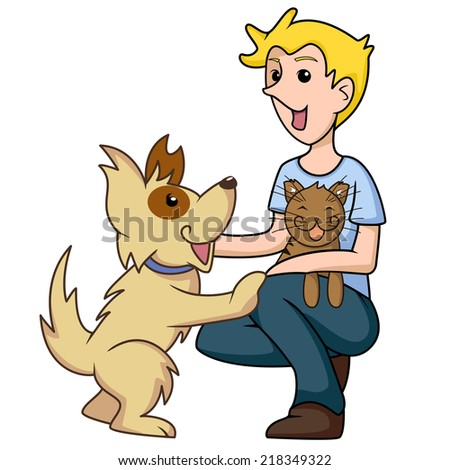 Pet adoption, cat and dog, animal lover, vector illustration - stock vector