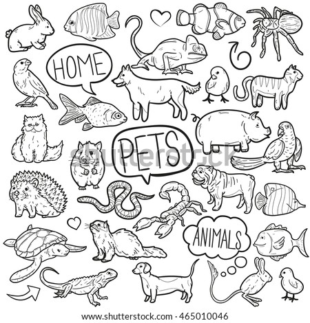 Pet Animals House Doodle Icons Hand Made