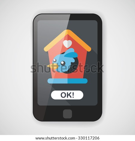 Pet bird house flat icon with long shadow,eps10 - stock vector