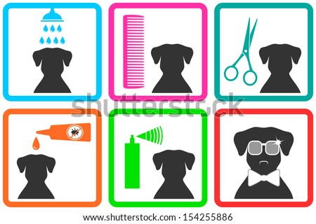 pet care icons with fashion doggy with sunglasses - stock vector