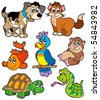 Pet cartoons collection - vector illustration. - stock vector