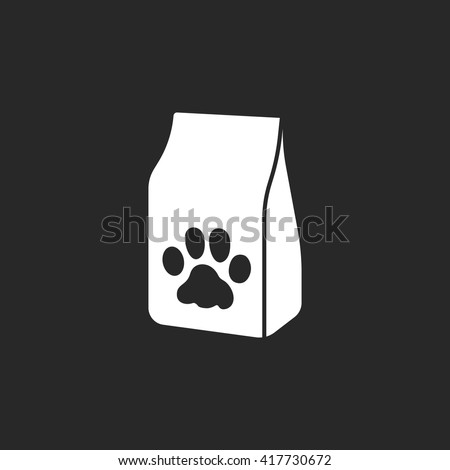 Pet cat food bag sign simple icon on  background - stock vector