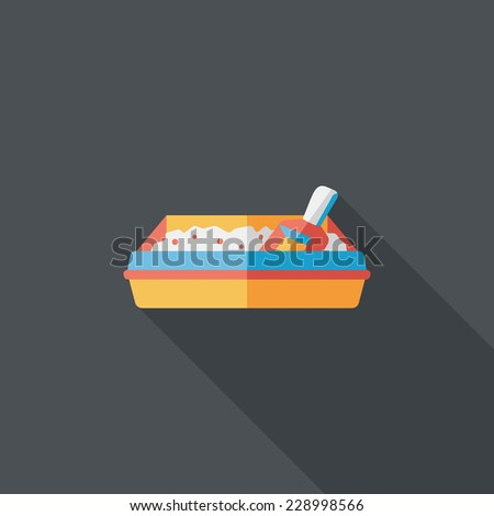 Pet cat litter box flat icon with long shadow eps10 & Pet Cat Litter Box Flat Icon Stock Vector 228998518 - Shutterstock Aboutintivar.Com