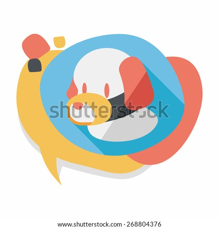 Pet dog mouth cover flat icon with long shadow,eps10 - stock vector