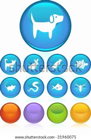 Pet Icon Set Blue - stock vector