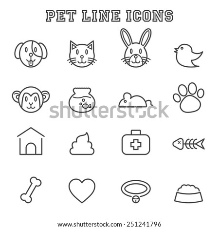 pet line icons, mono vector symbols - stock vector