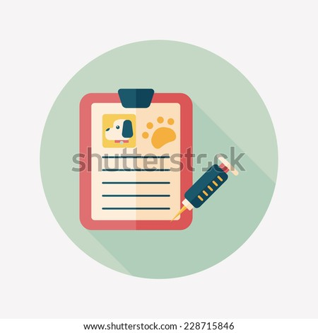 Pet medical records flat icon with long shadow, eps10 - stock vector