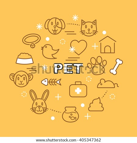 pet minimal outline icons, vector pictogram set - stock vector