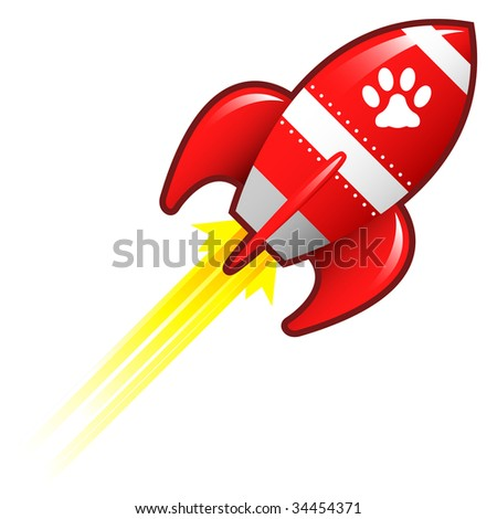Pet paw print icon on red retro rocket ship illustration