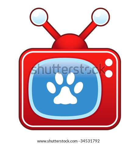 Pet paw print icon on retro television set - stock vector