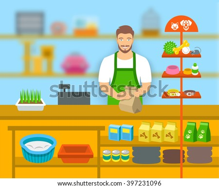 Pet shop seller at a counter in a store opposite shelves with pets care goods. Flat vector illustration. Small business owner at work concept. Accessories for animals care, food, cage, collars, etc.  - stock vector