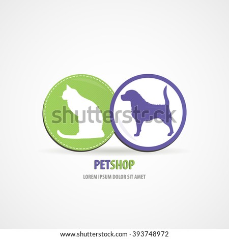 Pet shop two circles logo design concept animals icon green and purple color art - stock vector