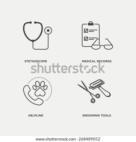 Pet, vet icon set in minimal style, line symbols - stock vector