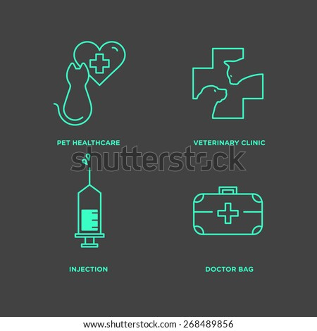 Pet, vet icon set in minimal style, line symbols in negative color - stock vector