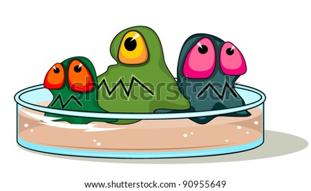 Petri plate with germs - stock vector