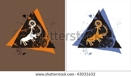Petroglyphs - stock vector