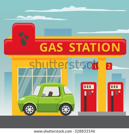 Petrol gas station concept in flat design style. Fuel and energy,  pump and car, transportation industry. Vector illustration - stock vector