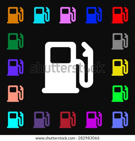 Petrol or Gas station, Car fuel  icon sign. Lots of colorful symbols for your design. Vector illustration - stock vector