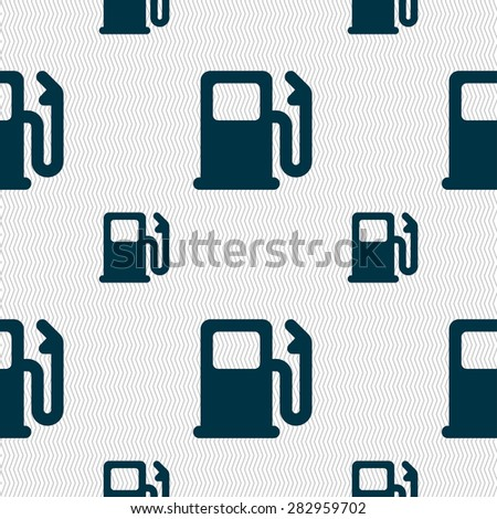 Petrol or Gas station, Car fuel icon sign. Seamless pattern with geometric texture. Vector illustration - stock vector