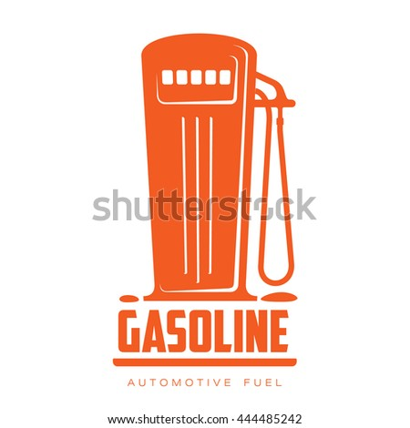 petrol station logo, vector illustration flat logo isolated on a white background, contour petrol filling station, filling machine logo, a symbol of gasoline filling stations - stock vector
