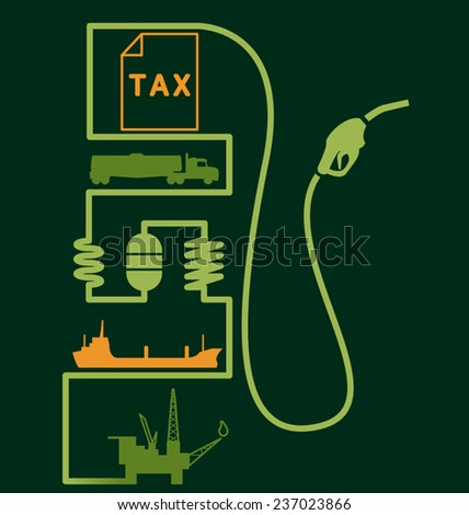 Petroleum distribution and price fuel pump - stock vector