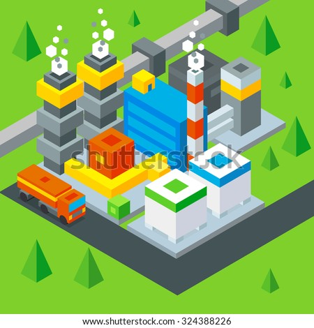 Petroleum extraction. Oil Refinery flat isometric illustration.  stock vector.