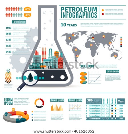 Petroleum industry infographics oil drop map stock vector hd petroleum industry infographics with oil drop map of world diagrams graphs statistics on white background vector ccuart Images