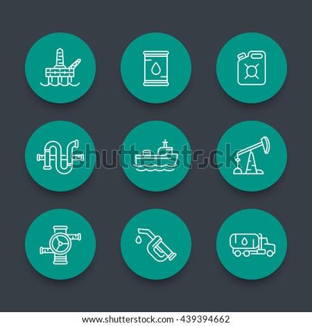 Petroleum industry line icons, barrel, oil and gas production platform, rig, derrick, oil tanker ship, gasoline nozzle, petrol can, vector illustration - stock vector