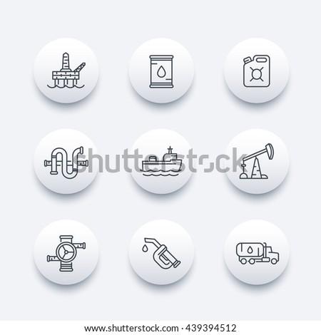 Petroleum industry line icons, oil rig, derrick, pipeline, barrel, drilling platform, oil tanker, gasoline nozzle, petrol can, vector illustration - stock vector
