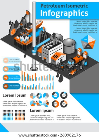 Petroleum isometric infographics set with oil production and distribution symbols and charts vector illustration - stock vector