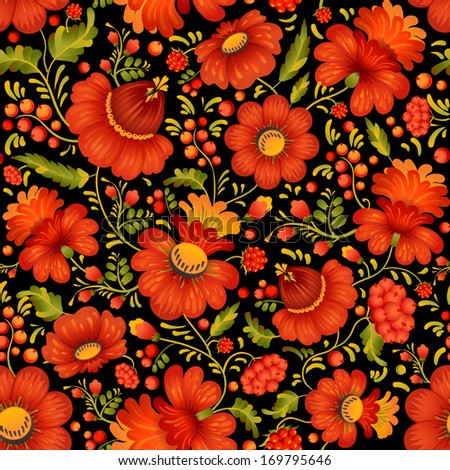 Petrykivka art (Petryakovka painting) seamless pattern in vector (Ukrainian folk art) - stock vector