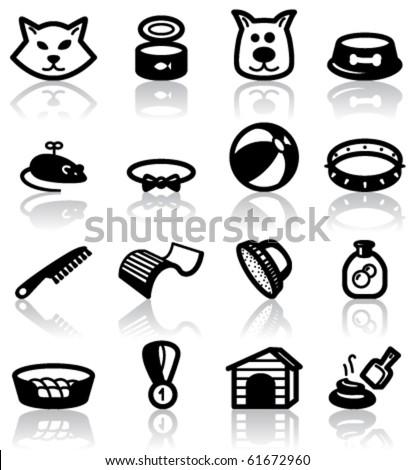 Pets (domestic) animals set - stock vector
