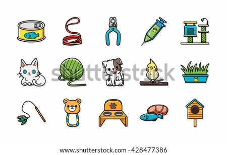 Pets icons set,eps10 - stock vector