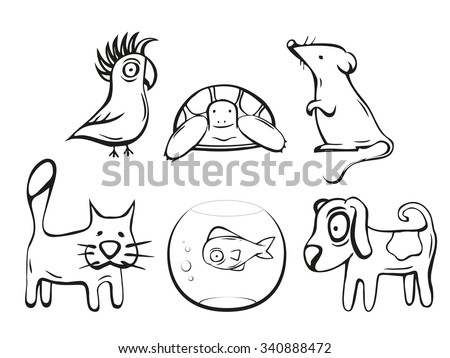 Pets illustration. Dog, cat, mouse, fish, bird and turtle. Hand drawn vector icons collection.