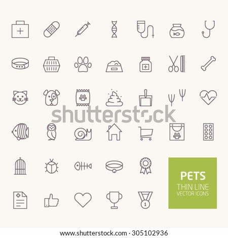 Pets Outline Icons for web and mobile apps - stock vector
