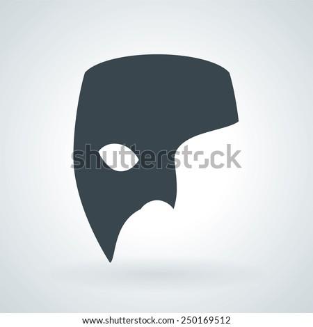 Phantom Carnival Mask Flat Icon - stock vector